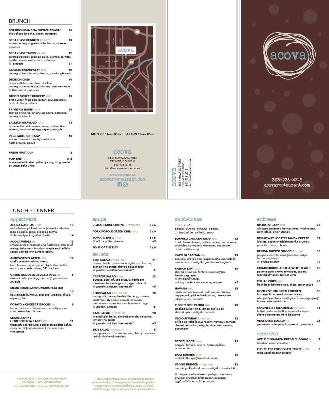 Acova • Menu Design